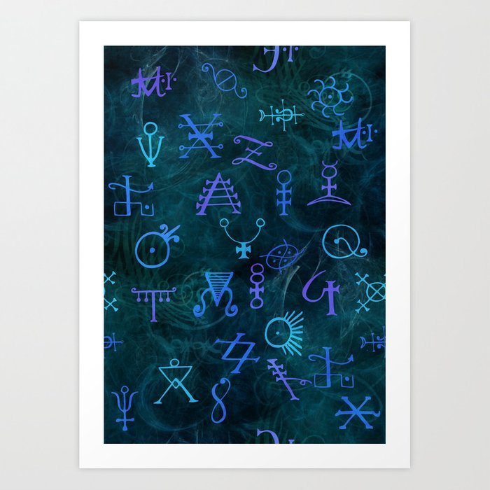 Alchemy Symbols Pattern Art Print