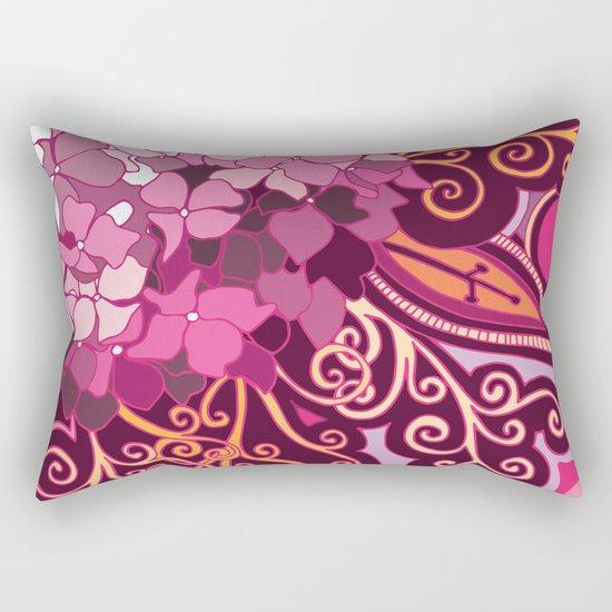 zentangle inspired Hortensia_rose pink doodle Rectangular Pillow