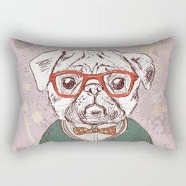 Hipster pug Rectangular Pillow
