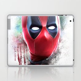 dead pool abstract watercolor portrait painting | Original Fan Art Laptop & iPad Skin