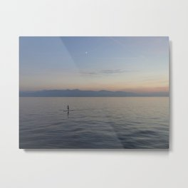 Solo SUP on the ocean after sunset Metal Print