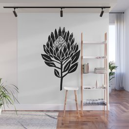 Linocut Protea floral black and white minimal flower spring Wall Mural