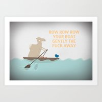 rowing Art Prints featuring Camel rowing by hannahisenough