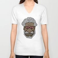 saxophone V-neck T-shirts featuring Sonny Rollins Saxophone Colossus  by Adam Metzner