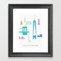 New York Skyline WTC Poster Color Framed Art Print