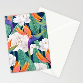 Bird of Paradise, Tropical Botanical Nature, Dark Jungle Illustration, Floral Eclectic Bohemian Stationery Cards