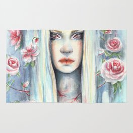 """Blossom"" Watercolour Surreal Fantasy Nymph Rug"