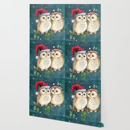 Cute Christmas Winter Owl Couple Painting Wallpaper