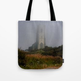 Ghostly Happisburgh church in a sea fret Tote Bag