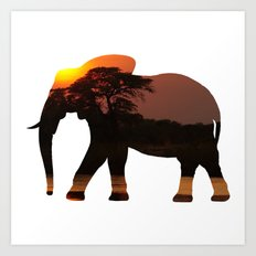 Elephant Silhouette with Africa Scene Inlay Art Print