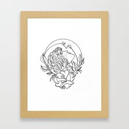 A Girl's First Love is Always the Moon Framed Art Print