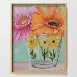 Gerber Daisy Retro Glass Painting Serving Tray