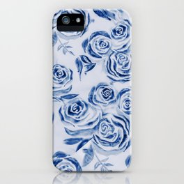 Blue Rose Floral Pattern - Most liked blues iPhone Case