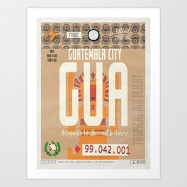 Vintage Guatemala City Luggage Tag Poster Art Print