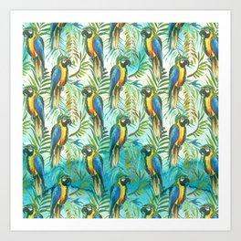 Watercolor blue yellow tropical parrot bird floral Art Print