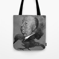 hitchcock Tote Bags featuring Hitchcock by Arnaud Gomet