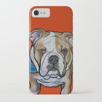 english bulldog iPhone & iPod Cases featuring Johnny the English Bulldog by Pawblo Picasso