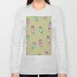 Otters Aqua Yellow Pattern Long Sleeve T-shirt
