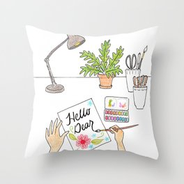 Hello Dear Throw Pillow