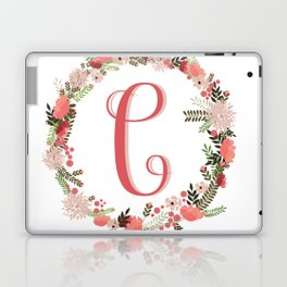 Personal monogram letter 'C' flower wreath Laptop & iPad Skin