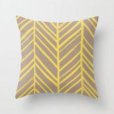 Painted Herringbone - in Marigold Throw Pillow