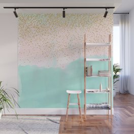 Watercolor abstract and golden confetti design Wall Mural