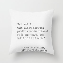 Romeo and Juliet, William Shakespeare, typed. Throw Pillow