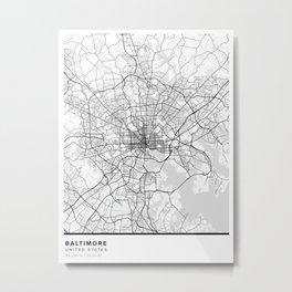 Baltimore Simple Map Metal Print