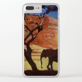 sunset on elephant family moving Clear iPhone Case