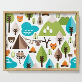 Wild camping trip with fox and wild animals illustration Serving Tray