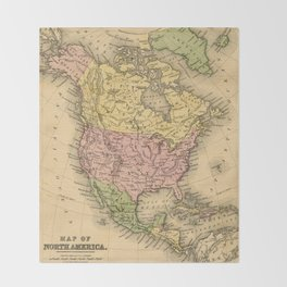1867 Map of North America Throw Blanket