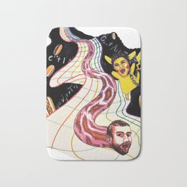 Snake-man and friend in hyper-dimensional curved spacetime Bath Mat