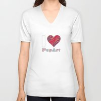 popart V-neck T-shirts featuring I Love Popart by Gabriel J Galvan