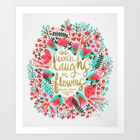 earth Art Prints featuring The Earth Laughs in Flowers – Pink & Gold by Cat Coquillette