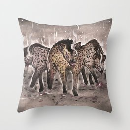Hyena Sisters Throw Pillow