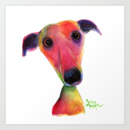 Nosey Dog Whippet Greyhound ' BERTA ' by Shirley MacArthur Art Print