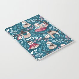 Hygge sloth // turquoise and red Notebook
