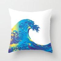 hokusai Throw Pillows featuring Hokusai Rainbow_B by FACTORIE
