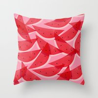 watermelon Throw Pillows featuring Watermelon by Georgiana Paraschiv