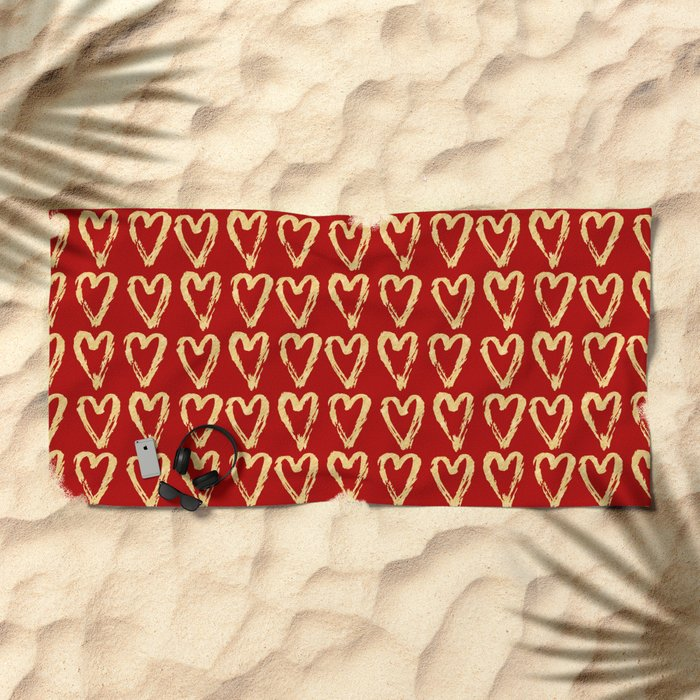 Hearts Of Gold Beach Towel