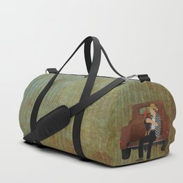 Rooster man and his pick up truck Duffle Bag