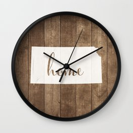 Kansas is Home - White on Wood Wall Clock