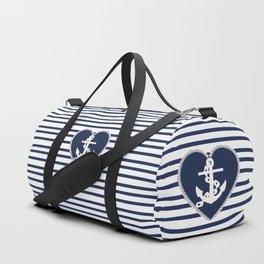 Modern navy blue white heart anchor nautical stripes Duffle Bag