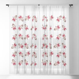 Whirling Mrs Claus Sheer Curtain