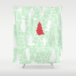 Elegant Green Christmas Trees Holiday Pattern Shower Curtain