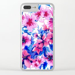 Floral Print Tropical Magenta Clear iPhone Case