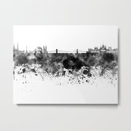 Budapest skyline in black watercolor Metal Print