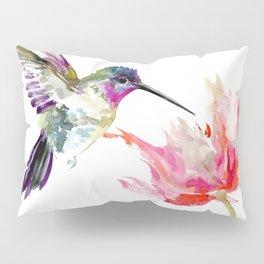 Little Hummingbird and Pink Flower, Bird art, minimalist bird painting, soft pink olive green design Pillow Sham