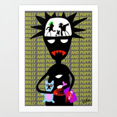 Bully and puppy Art Print
