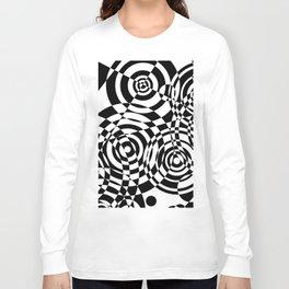Raindrops 2 Black and White Geometric Painting Long Sleeve T-shirt